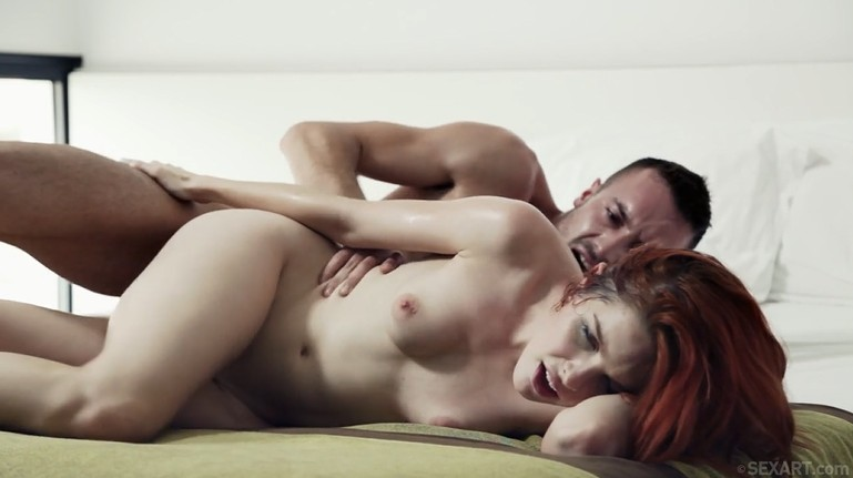 Wild redhead woman loves rough fuck