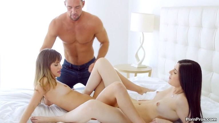 Strong guy fucks two sexy lesbians