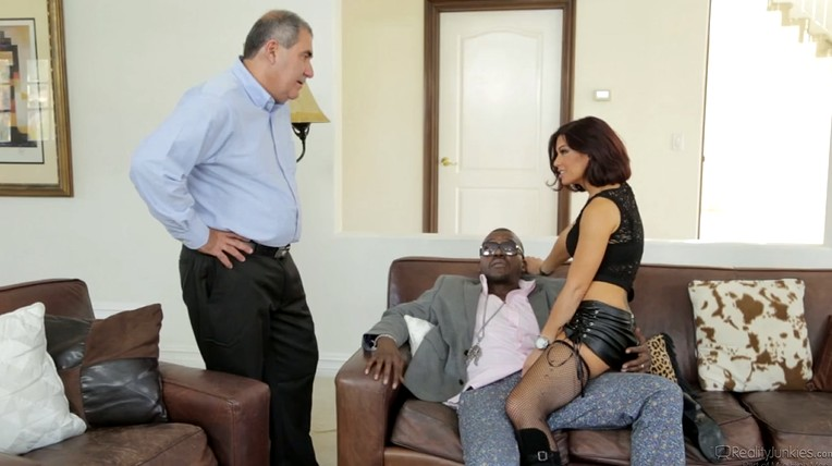 Old husband watches his wife fucked a black man