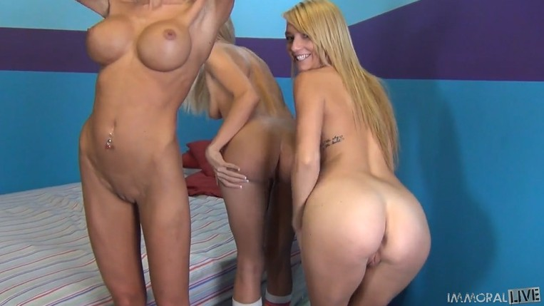 Three blonde sluts share 1 dick