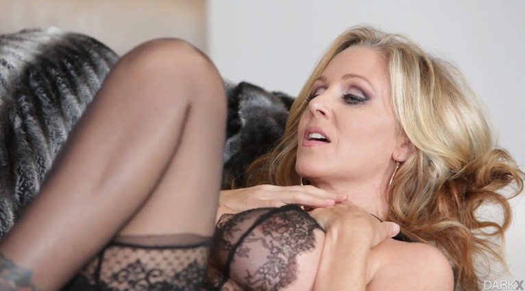 Busty Mommy In Black Stockings enjoy huge black dick