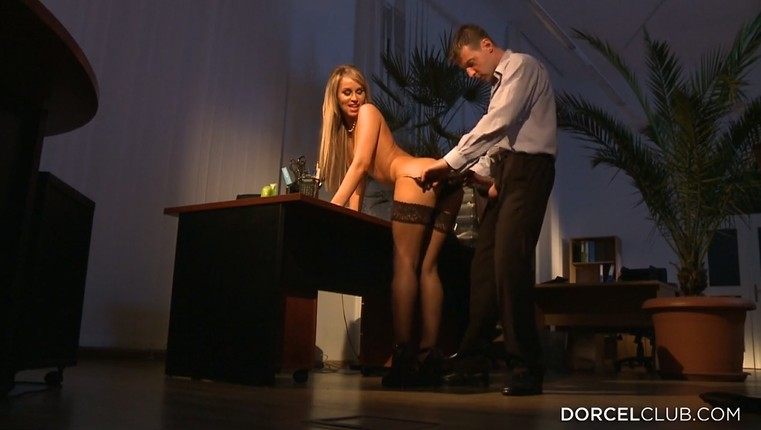 Stunning Milf in stockings rides dick in office